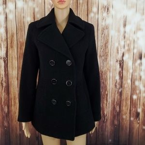 Kenneth Cole Peacoat Small Wool Blend Black